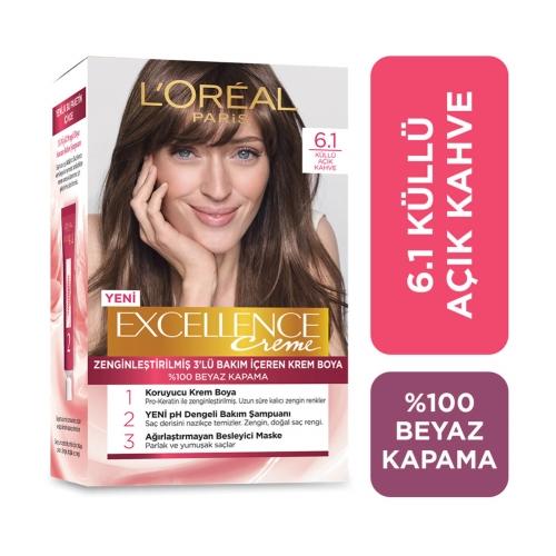 L'Oréal Paris Excellence Creme Saç Boyası 6-1 Küllü Açık Kahve