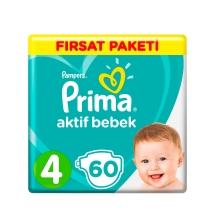 Prima Bebek Bezi Aktif Bebek 4 Beden Maxi Fırsat Paketi 60 Adet