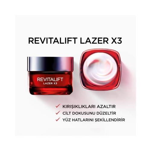 L'Oréal Paris Revitalift Laser X3 Yoğun Yaşlanma Karşıtı Gündüz Bakım Kremi 50 Ml