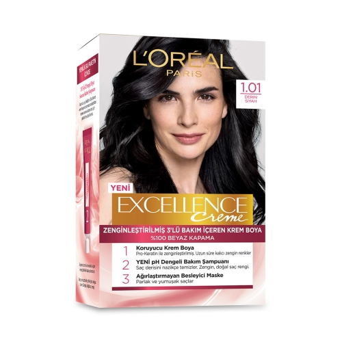 L'Oréal Paris Excellence Creme Saç Boyası 1-01 Derin Siyah