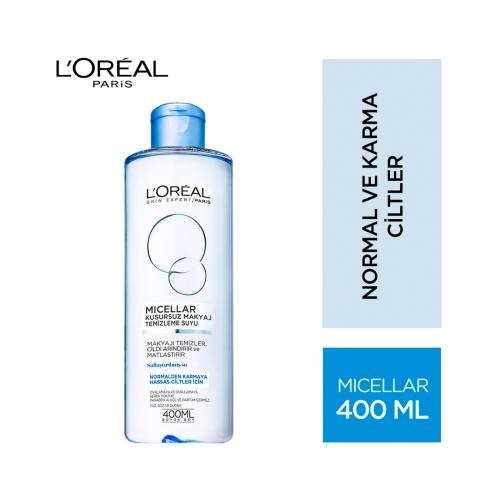 L'Oréal Paris Micellar Kusursuz Makyaj Temizleme Suyu Normalden Karmaya Hassas Ciltler İçin 400 Ml