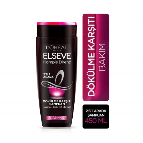 L'Oréal Paris Elseve Komple Direnç Dökülme Karşıtı 2'si 1 Arada Şampuan 450 Ml