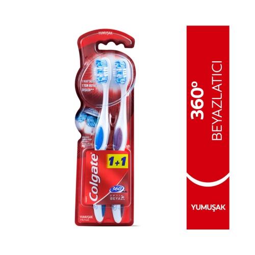 Colgate 360 Optik Beyaz Yumuşak Beyazlatıcı Diş Fırçası 1+1