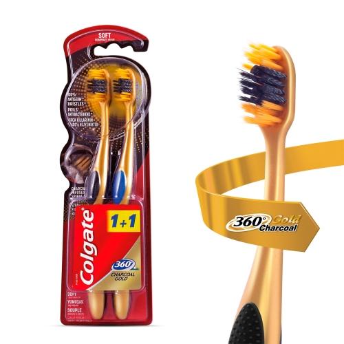 Colgate 360 Charcoal Gold Yumuşak Diş Fırçası 1+1