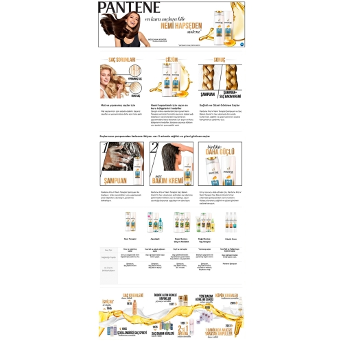 Pantene 3'ü 1 Arada Şampuan ve Saç Bakım Kremi Nem Terapisi 400 Ml