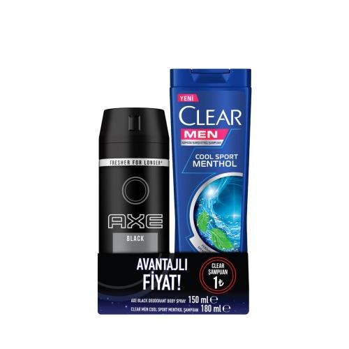 Axe Deodorant Black 150 Ml + Clear Cool Sport 180 Ml