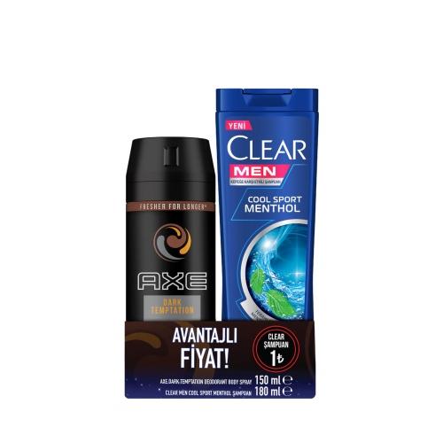 Axe Deodorant Dark 150 Ml + Clear Cool Sport 180 Ml