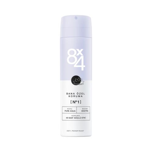 8X4 Deodorant Sprey No:1 Pure Aqua 150 Ml Kadın
