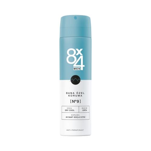 8X4 Deo Sprey No:9 Dry Cool 150 Ml Erkek