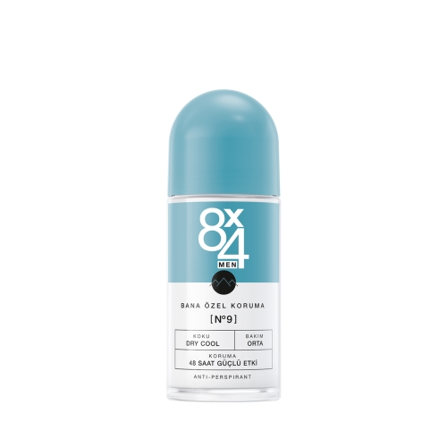 8X4 Deo Roll-On No:9 Dry Cool 50 Ml Erkek