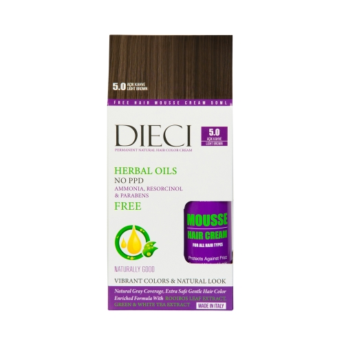 Dieci Herbal Oil  Amonyaksız Kit Boya 5.0 Açık Kahve