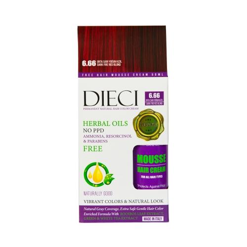 Dieci Herbal Oil  Amonyaksız Kit Boya 6.66 Orta Sarı Yoğun Kızıl