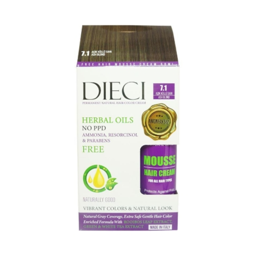 Dieci Herbal Oil  Amonyaksız Kit Boya 7.1 Açık Küllü Sarı