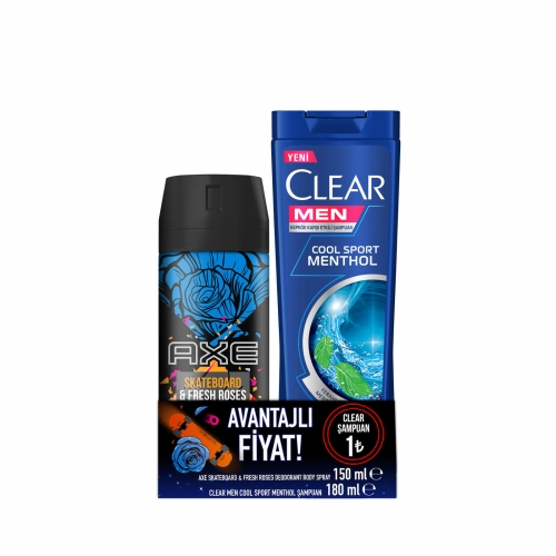 Axe Deodorant Skateboard 150 Ml+Clear Cool Sport Şampuan 180 Ml