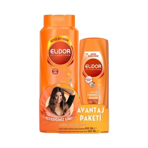 Elidor Onarıcı Şampuan 650 Ml ve Saç Kremi 200 Ml Seti