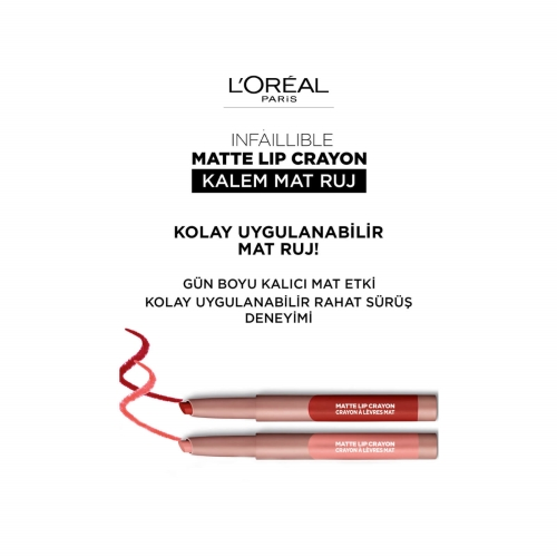 L'Oréal Paris Matte Crayon Kalem Mat Ruj 106