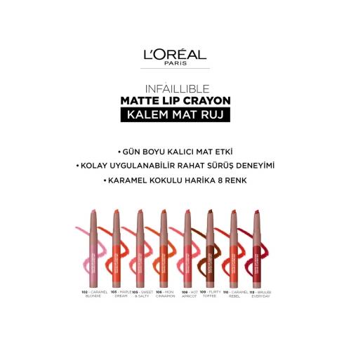 L'Oréal Paris Matte Crayon Kalem Mat Ruj 110