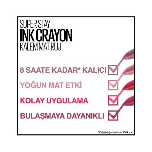 Maybelline New York Süper Stay Ink Crayon Kalem Mat Ruj 80-Run The World