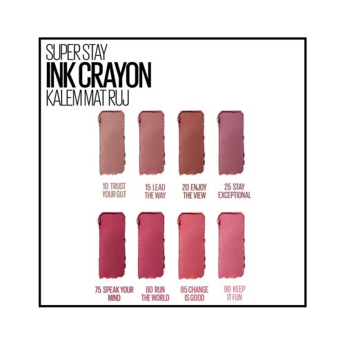 Maybelline New York Süper Stay Ink Crayon Kalem Mat Ruj 90-Keep It Fun