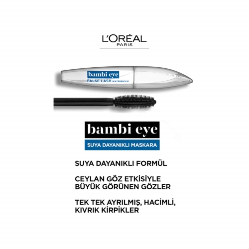 L'Oréal Paris Bambi Eye False Lash Waterproof Ceylan Göz Etkili Suya Dayanıklı Maskara Siyah