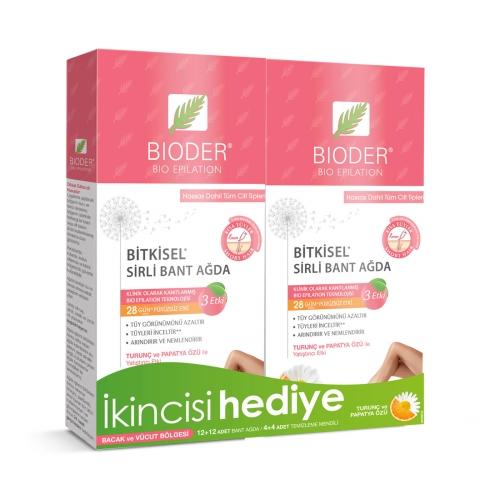 Bioder Bio Epiten Tüy Azaltıcı Sirli Bant Ağda Vücut Hassas 1+1