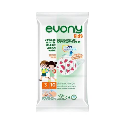 Evony Kids Yumuşak Elastik Kulaklı Cerrahi Maske 3 Katlı 10 Adet