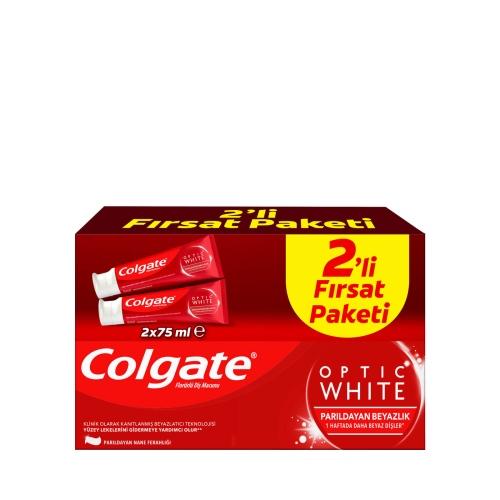 Colgate Optic White Parıldayan Beyazlık Beyazlatıcı Diş Macunu 75 Ml+75 Ml İkili Paket