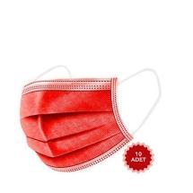 AFS Medikal 3 Katlı 10 Adet Full Ultrasonik Cerrahi Maske Kırmızı