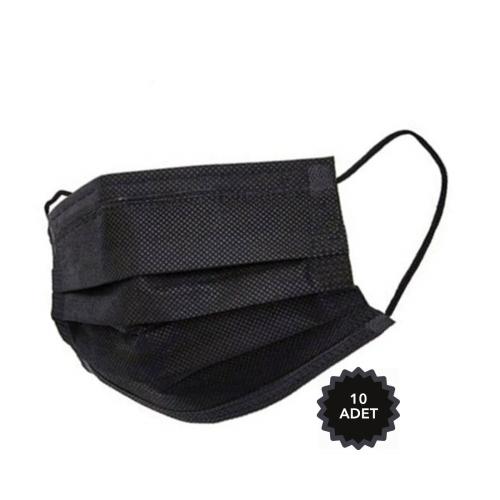 AFS Medikal 3 Katlı 10 Adet Full Ultrasonik Cerrahi Maske Siyah