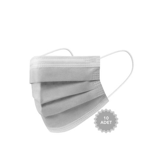AFS Medikal 3 Katlı 10 Adet Full Ultrasonik Cerrahi Maske Gri