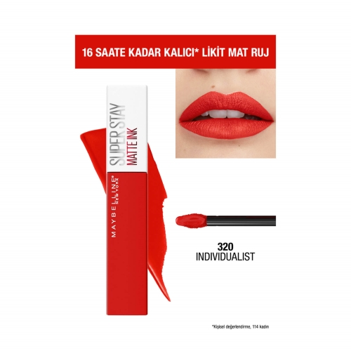 Maybelline New York Super Stay Matte Ink Likit Mat Ruj - 320 Individualist- Kırmızı