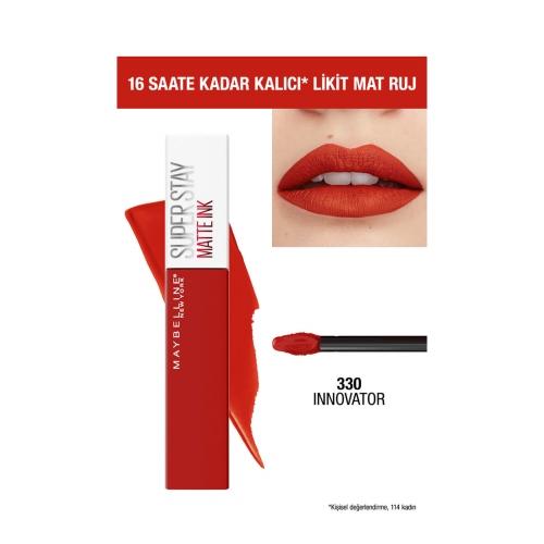 Maybelline New York Super Stay Matte Ink Likit Mat Ruj - 330 Innovator- Kırmızı