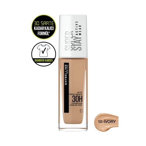 Maybelline New York Super Stay Active Wear 30H Foundation 10 Ivory