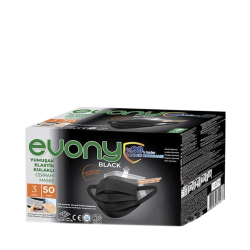 Evony Yumuşak Elastik Kulaklı Cerrahi Maske 3 Katlı 50 Adet Siyah Renkli