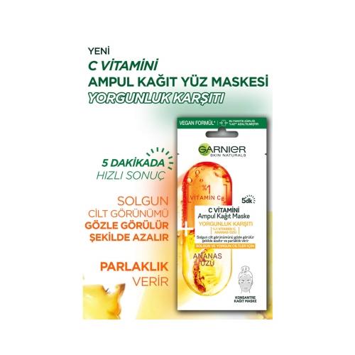 Garnier C Vitamini Yorgunluk Karşıtı Ampul Kağıt Yüz Maskesi 1 Adet