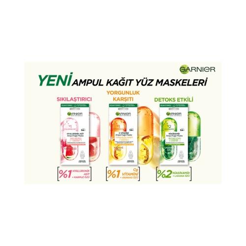 Garnier Hyaluronik Asit Sıkılaştırıcı Ampul Kağıt Yüz Maskesi 1 Adet