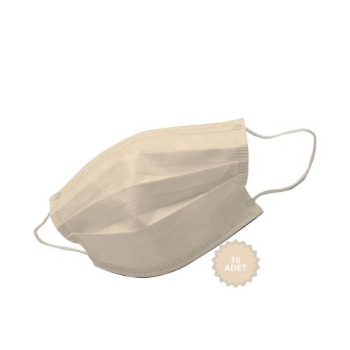 AFS Medikal 3 Katlı 10 Adet Full Ultrasonik Cerrahi Maske Bej