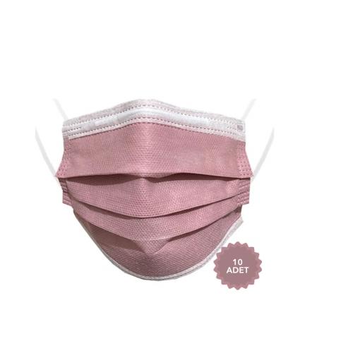 AFS Medikal 3 Katlı 10 Adet Full Ultrasonik Cerrahi Maske Gül Kurusu