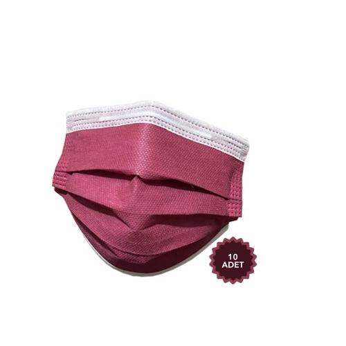 AFS Medikal 3 Katlı 10 Adet Full Ultrasonik Cerrahi Maske Bordo