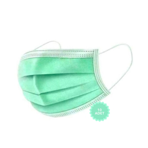 AFS Medikal 3 Katlı 10 Adet Full Ultrasonik Cerrahi Maske Açık Yeşil
