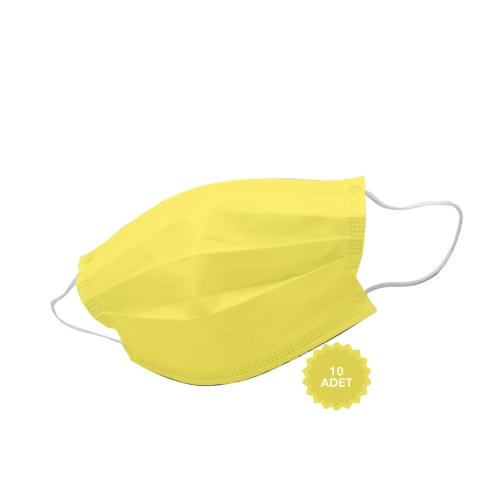 AFS Medikal 3 Katlı 10 Adet Full Ultrasonik Cerrahi Maske Sarı