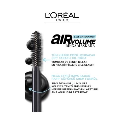 L'Oréal Paris Mega Air Volume Suya Dayanıklı Maskara Noir/Black